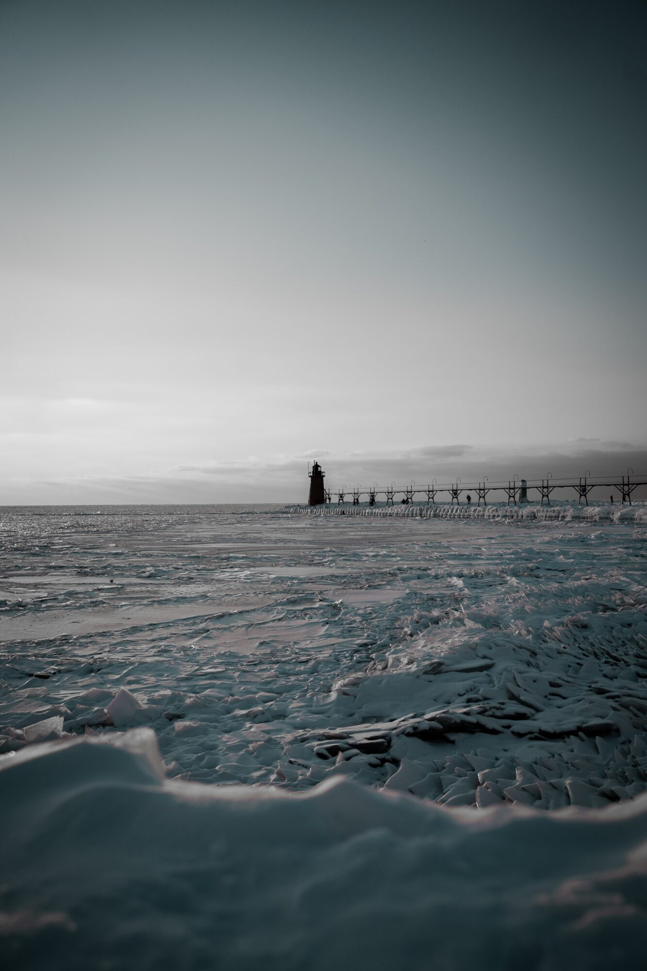 Winter view in Michigan for boat winterization at Leelanau Boat Co